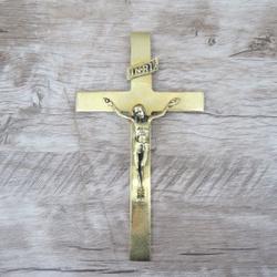 Crucifixo de Parede 12X22 Dourado (ref 42 ) - 4274 - Betânia Loja Católica