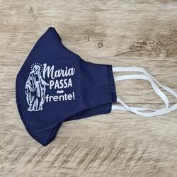 Máscara em Tecido - Maria Passa na Frente Azul - 2... - Betânia Loja Católica
