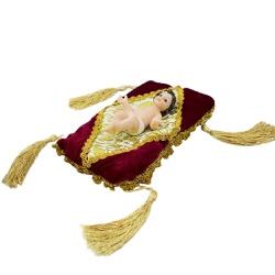 Enfeite Resina Menino Jesus Roupa Branca Na Almofa... - Betânia Loja Católica