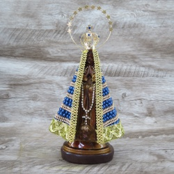 Imagem Gesso - Nossa Senhora Aparecida 20 cm Pérol... - Betânia Loja Católica