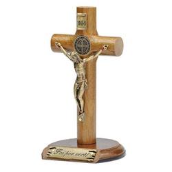 Crucifixo Madeira Cilíndrica de mesa 12cm São Bent... - Betânia Loja Católica