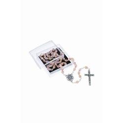 Terço Cristal Vidro Irisado Salmão Nossa Senhora A... - Betânia Loja Católica