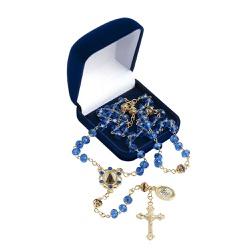 Terço Nossa Senhora Aparecida Cristal Azul - 23787 - Betânia Loja Católica