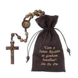 Terço de Madeira com Cordão - São Padre Pio - 10mm... - Betânia Loja Católica