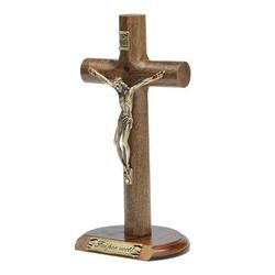 Crucifixo de Mesa Cilíndrica 17 cm- Foi por você -... - Betânia Loja Católica