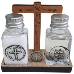 Kit Água, Sal e Medalha das Duas Cruzes - 25903 - Betânia Loja Católica