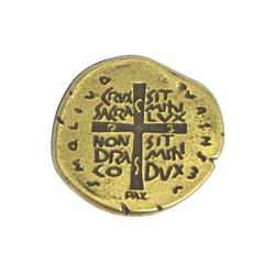 Broche Medalha das duas Cruzes - Cor Ouro Velho - ... - Betânia Loja Católica