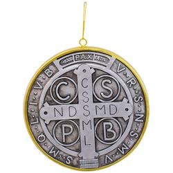 Medalhão de Parede São Bento - Resina 15x15 - 2289... - Betânia Loja Católica