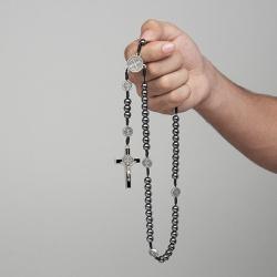 Terço São Bento Hematita 8mm com Medalhas no Pai N... - Betânia Loja Católica