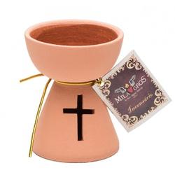 Incensário Terracota com cruz - 26446 - Betânia Loja Católica