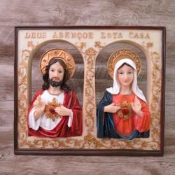Quadro Sagrado Coração de Jesus e Maria - Enfeite ... - Betânia Loja Católica