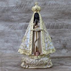 Imagem Resina - Nossa Senhora Aparecida 20 Dourada... - Betânia Loja Católica