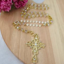 Terço contas em Cristal / metal dourado - Personal... - Betânia Loja Católica