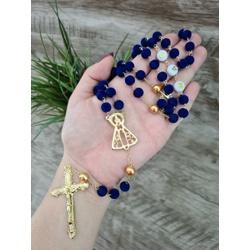 Terço contas em Veludo - Azul Marinho (Personaliza... - Betânia Loja Católica