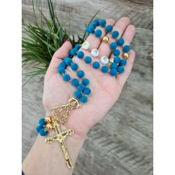 Terço contas em Veludo - Azul Turquesa (Personaliz... - Betânia Loja Católica