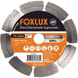 Disco Diamantado Segmentado 4.3/8'' 110x20 Foxlux - Bignotto Ferramentas