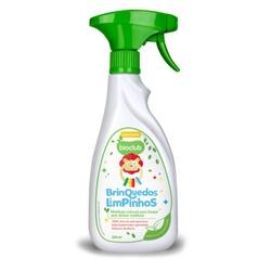 Embalagem de 500ml do produto Brinquedos limpinhos. Frasco Branco e tampa verde. O rótulo contém leão de brinquedo.