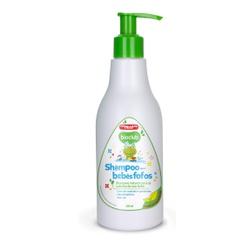 Embalagem em garrafa de 300ml Frasco Branco e tampa verde.