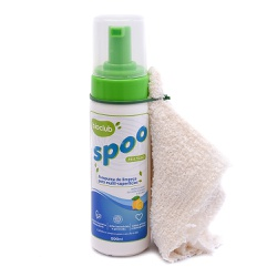 Frasco de 200 ml do Spoo, com válvula espumadora. Acompanha junto um pano de algodão cru