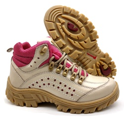 Bota Adventure Feminina 5400/36 Creme/pink - 5400/... - BMBRASIL CALÇADOS