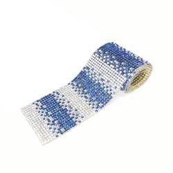 Tira De Strass Degradê - Hematite Blue, 40x4cm. - ... - BMSTRASS