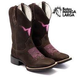 Bota Texana Femina Touro Rosa Bico Quadrado - 600 ... - BOTAS MANGALARGA