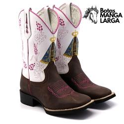 Bota Texana Feminina Napa Branca Pink Aparecida - ... - BOTAS MANGALARGA