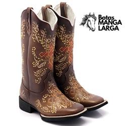Bota Texana Feminina Hopper Bordada Cruz Conhaque ... - BOTAS MANGALARGA