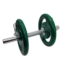 KIT 2 BARRAS MACIÇAS 40CM C/ PRESILHA ESPIRAL + 4 ANILHAS REVESTIDAS 5KG | INICIATIVA FITNESS - Iniciativa Fitness
