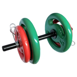 KIT 2 BARRAS OCAS 40CM C/ PRESILHAS + 2 PARES DE ANILHA REVESTIDA 3KG + 2 PARES DE ANILHA REVESTIDA ... - Iniciativa Fitness