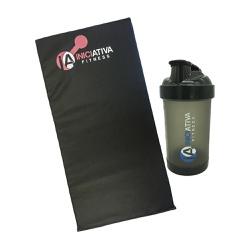 KIT 1 COLCHONETE ACADEMIA LOGO ROSA+1 COQUETELEIRA PRETA TRANSLÚCIDA 500 ML | INICIATIVA FITNESS - Iniciativa Fitness