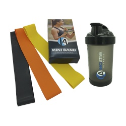 1 KIT MINI BAND - 3 INTENSIDADES + 1 COQUETELEIRA PRETA TRANSLÚCIDA 500 ML | INICIATIVA FITNESS - Iniciativa Fitness