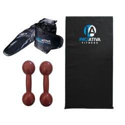 KIT DE GINÁSTICA EM CASA - COLCHONETE + PAR DE CANELEIRA DE 3KG + PAR DE HALTER 3KG | INICIATIVA FIT... - Iniciativa Fitness