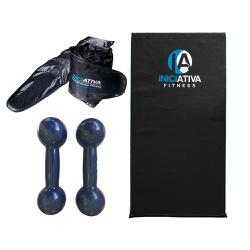 KIT DE GINÁSTICA EM CASA - COLCHONETE + PAR DE CANELEIRA 2KG + PAR DE HALTER 2KG | INICIATIVA FITNES... - Iniciativa Fitness
