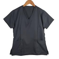 Camisa Scrub Pijama Cirúrgico Cinza Chumbo Gabardi... - BRANCURA