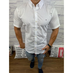 Camisa Manga Curta Tommy Branco Interior Gola Rosa... - RP IMPORTS