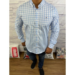 Camisa Tommy Manga Longa Xadrez Azul Bebê - CMTH44 - RP IMPORTS