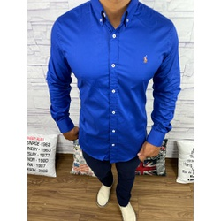 Camisa Manga Longa RL Azul Logo Colorida - CLRL111 - Queiroz Distribuidora Multimarcas