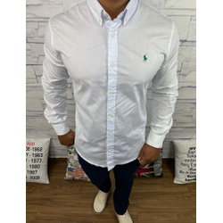Camisa Manga Longa RL Branco Logo verde - CLRL112 - Queiroz Distribuidora Multimarcas