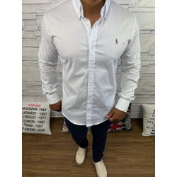 Camisa Manga Longa RL Branco Logo colorida - CLRL1... - Queiroz Distribuidora Multimarcas