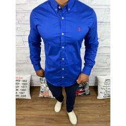 Camisa Manga Longa RL Azul Bic logo Vermelha - CLR... - Queiroz Distribuidora Multimarcas