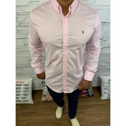 Camisa Manga Longa RL Rosa Claro logo colorida - C... - Queiroz Distribuidora Multimarcas