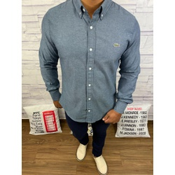 Camisa Social Manga Longa LCT Cinza Escuro Riscado... - Out in Store