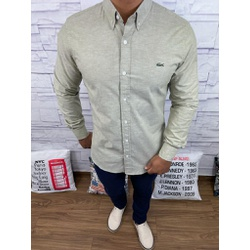 Camisa Social Manga Longa LCT Bege Riscado⭐ - CALC... - Out in Store