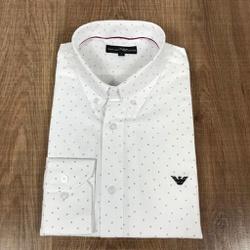 Camisa Manga Longa Armani Branco Detalhado - CMLAX... - RP IMPORTS