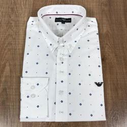 Camisa Manga Longa Armani Branco Estampado - CMLAX... - RP IMPORTS