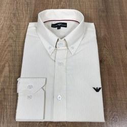 Camisa Manga Longa Armani Listado Bege - CMLAX42 - RP IMPORTS