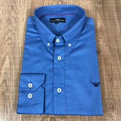 Camisa Manga Longa Armani Azul Royal listrado - CM... - RP IMPORTS