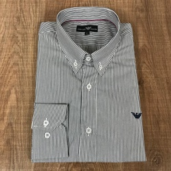 Camisa Manga Longa Armani Listrado Preto - CMLAX46 - RP IMPORTS
