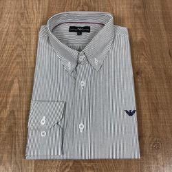 Camisa Manga Longa Armani Listrado Cinza - CMLAX47 - RP IMPORTS